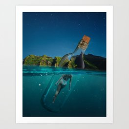 Life is a message in a bottle Art Print