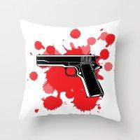 guns Throw Pillows featuring Guns Kill by DaceDesigns