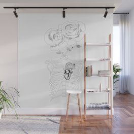 Ribs and heart anatomy with roses Wall Mural