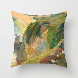Flageolet Player on Cliff, Paul Gauguin Throw Pillow