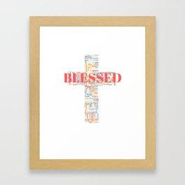Blessed Word Art Cross Framed Art Print