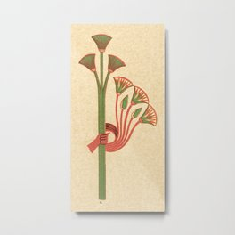 Egyptian Papyrus Plants and Lotus Flowers Metal Print
