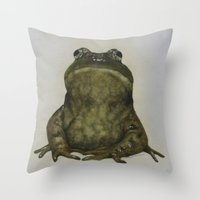 frog Throw Pillows featuring frog by Diane Nicholson