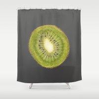 kiwi Shower Curtains featuring kiwi by jon hamblin