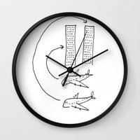 planes Wall Clocks featuring Planes by Charlotte Benard