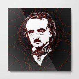 Edgar Allan Poe Circles Portrait Metal Print