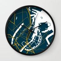 denmark Wall Clocks featuring Copenhagen Denmark Map by Studio Tesouro
