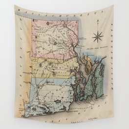 Vintage Map of Rhode Island (1823) Wall Tapestry