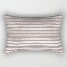 Simply Shibori Stripes Lunar Gray and Red Earth Rectangular Pillow