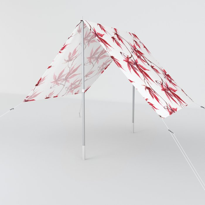 Watercolor Botanical Red Japanese Maple Leaves on Solid White Background Sun Shade