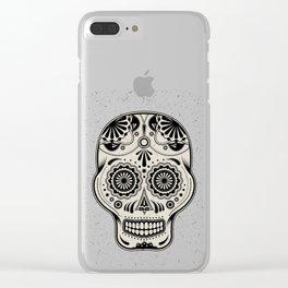 Sugar Skull Art B&W Clear iPhone Case