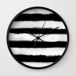 Long Strokes Horizontal Off White on Black Wall Clock