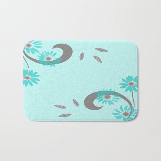 Floral Scroll Design - Turquoise Bath Mat