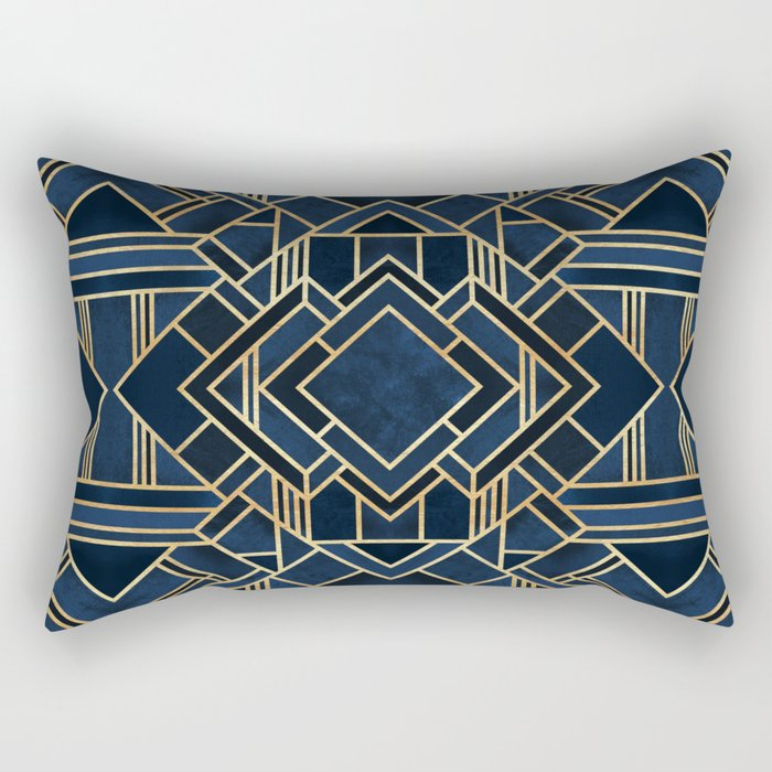 Art Deco Fancy Blue Rectangular Pillow