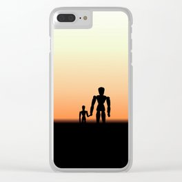 New Day Sunrise or Sunset for Father and Child Wooden Dolls Clear iPhone Case