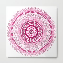 Hand made ornamental round lace Metal Print