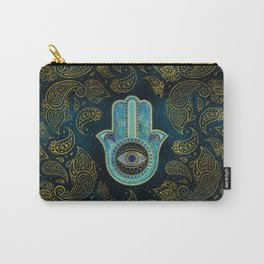 Decorative Hamsa Hand with paisley background Carry-All Pouch