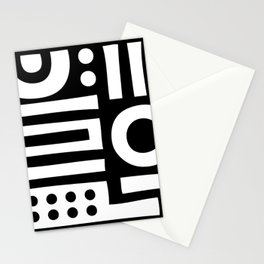 Mid Century Modern Abstract Composition 114 Black and White Stationery Cards