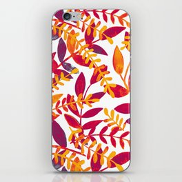 Watercolor branches - purple and orange iPhone Skin