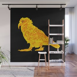 Kea Strut - yellow with black background Wall Mural