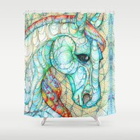 horse Shower Curtains featuring Horse by Kate Fitzpatrick