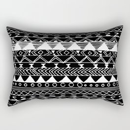 Artistic White black hand drawn aztec pattern Rectangular Pillow