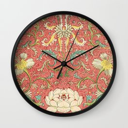 Red Floral Wall Clock