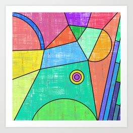 Colorful geometric abstract print, primary colors print Art Print