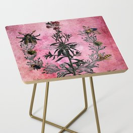 Vintage Bees with Toadflax Botanical illustration collage Side Table