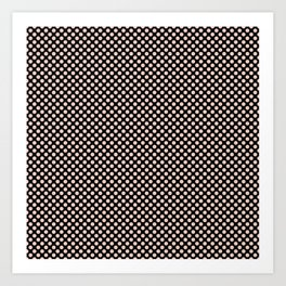 Black and Pale Dogwood Polka Dots Art Print