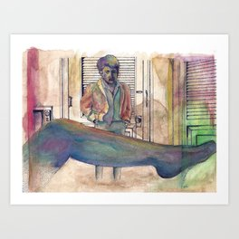 The Graduate - coffee & ink Art Print