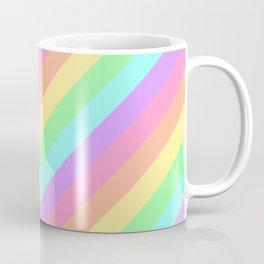 Pastel Rainbow Diagonal Stripes Coffee Mug