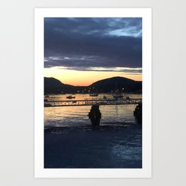 manset maine town dock Art Print