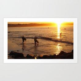 Sunrise Surfing Art Print