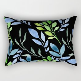 Blue and Green Leaves Rectangular Pillow