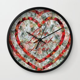 Live Laugh Love in Hearts Wall Clock