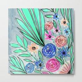 Coral Pink Blue Green Watercolor Flower Art Metal Print