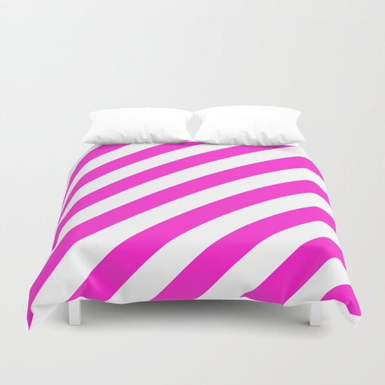 Diagonal Stripes (Hot Magenta/White) Duvet Cover