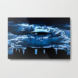 UFO at Stonehenge by Raphael Terra Metal Print