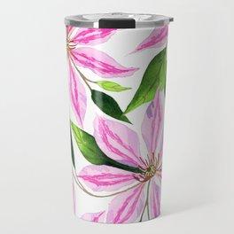 Watercolor Clematis Florwers Travel Mug