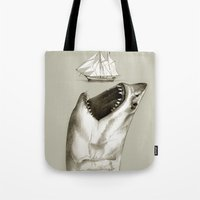 shark Tote Bags featuring shark by Кaterina Кalinich