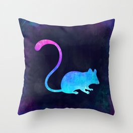 MOUSE IN SPACE // Animal Graphic Art // Watercolor Canvas Painting // Modern Minimal Cute Throw Pillow