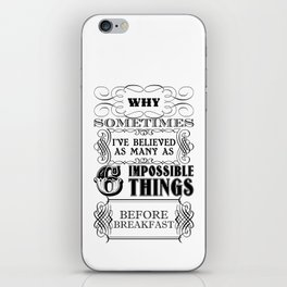 Alice in Wonderland Six Impossible Things iPhone Skin