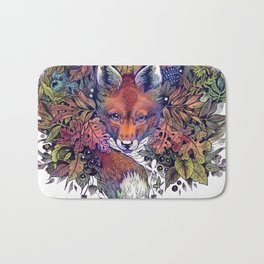 Hiding fox rainbow Bath Mat