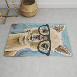 Cute Alpaca With Glasses Rug