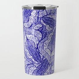 pen and ink fallen leaves doodle pattern 2 Travel Mug