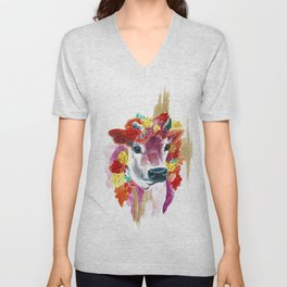 Cow Indian Blossom Yoga Art Unisex V-Neck