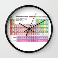 periodic table Wall Clocks featuring Periodic Table Of  The Elements by GrafXthings