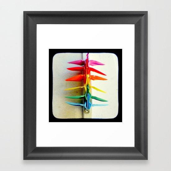 Rainbow Peace Cranes Framed Art Print