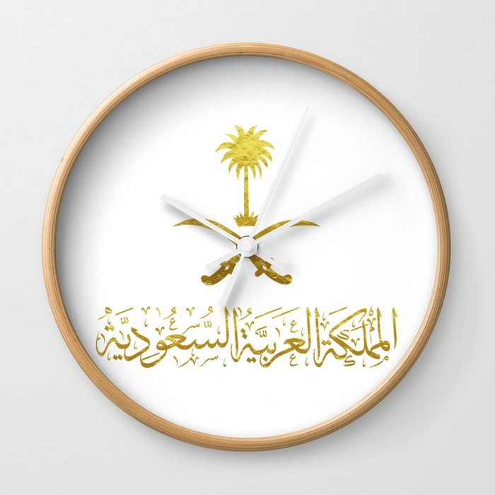 Kingdom Of Saudi Arabia Emblem شعار المملكة العربية السعوديه Gold Wall Clock By Omardakhane Society6